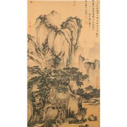 Tang Yin 1470-1524 Chinese Print Scroll