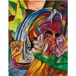Franz Marc German Expressionist Oil on Canvas