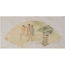 Chinese Watercolor Erotic Scene Fan Paper Roll
