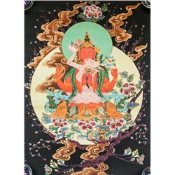 Print Tanka of Four-Arm Red Guanyin on Canvas
