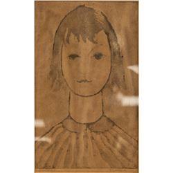 Ink on Paper Portrait Girl Sketch Signed L'Atelier