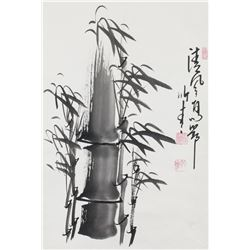 Chinese Ink Bamboo Scroll Signed by Artist