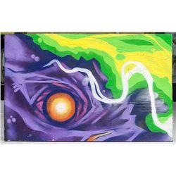David Choe American Spray Paint on Wood Panel