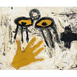 Antoni Tapies Spanish Abstract Oil on Canvas