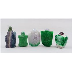 Five Assorted Chinese Snuff Bottles Hardstone