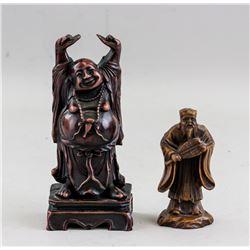 Two Assorted Chinese Buddha & Tudigong Statues