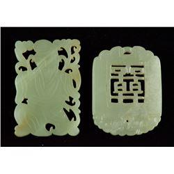 Two Pieces Celadon Jade Plaque Pendants