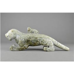 Archaic Chinese Carved Green Jade Figure of Tiger