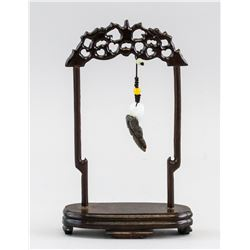 Chinese Jade Pendant with Hanging Stand