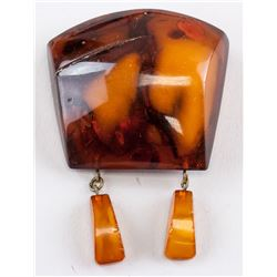 Chinese Amber Brooch with Hanging Pendants