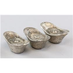 Three Assorted Chinese Silvered Boat Money Daqing