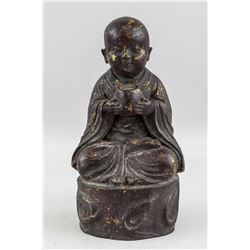 Chinese Gilt Bronze Young Monk Statue
