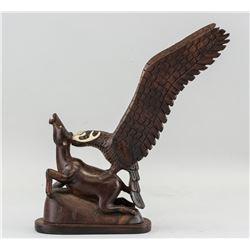 Wood Carved Eagle Hunting Deer Sculpture