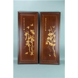 Pair of Signed Chinese Wood Carved Panels