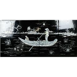Set of Four Mother Pearl Landscape Black Lacquer