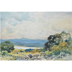 """Two gilt framed original watercolour paintings both titled on verso """"Lake Land Falls from Sand Side"""""""