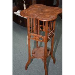 """Antique quarter cut oak 30"""" lamp table with vase shelf"""