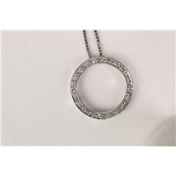 "Ladies 10kt white gold 18"" box chain and 10kt gold and diamond circle pendant"