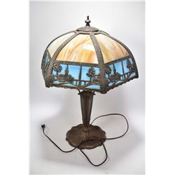 Vintage cast table lamp with cast and slag glass decorative shade