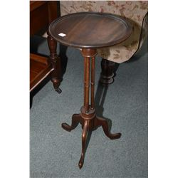 Two mahogany center pedestal wine tables