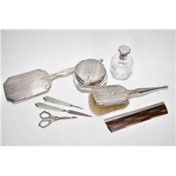Birks sterling silver eight piece dresser set including bevelled hand mirror, hair brush and comb, p