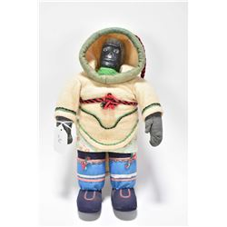 "Inuit doll with soapstone carved head circa 1950- 1960, 12"" in height"