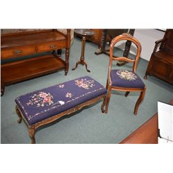 Two mid 20th century needlepoint upholstered pieces including side chair and bed end bench