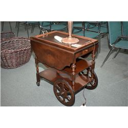 Antique matched grain walnut drop leaf tea wagon with single drawer and drink's tray