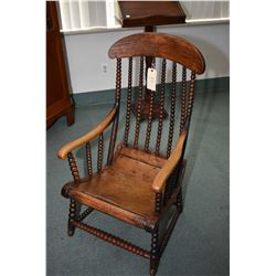 Antique bobbin turned open arm chair, note was likely a rocking chair but is now missing it's rocker