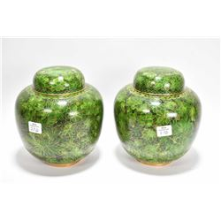"Pair of cloisonne lidded ginger jars, 7"" in height"