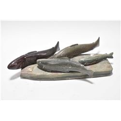 "Soapstone carving of spawning salmon with four dancing fish 10"" in length signed by Ekagina"