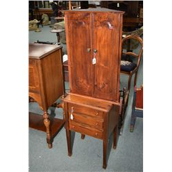 Small cabinet topper or wall mount corner cabinet with two carved doors and shelf plus a mid 20th ce