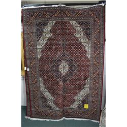 Large brand new 100% hand made wool blend Mahi design Tabriz area carpet with center medallion, red