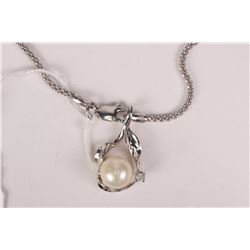 "Ladies 14kt white gold 18"" link neck chain and 14kt white gold and genuine pearl pendant with accent"