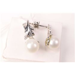 14kt white gold, genuine pearl and diamond accented pierced earrings
