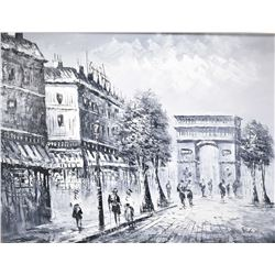 "Framed oil on canvas painting of a black and white Paris scene, artist signed, 20"" X 24"""