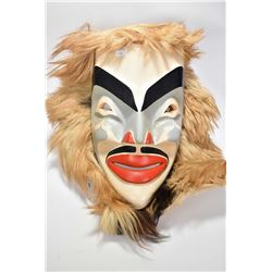 "Large unsigned beautifully carved and painted native mask with applied fur ""coat collar"", 19"" includ"