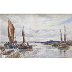 Antique gilt framed original watercolour of a harbour scene signed by artist Alex Bullingall-1900, 1