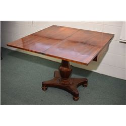 Antique center pedestal fold over parlour table