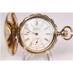 "Waltham size ""6"", 15 jewel grand X model 1890 pocket watch. Serial # 7240597 dates this watch to 189"