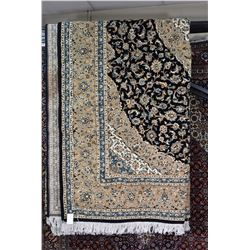 Brand new 100% hand made wool bland Kashan area carpet with center medallion, with black background