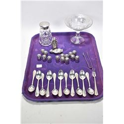 Selection of sterling silver including set of eleven matching sterling teaspoons, small fork, sugar