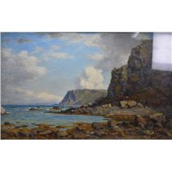 Antique gilt framed oil on canvas painting of a Scottish rocky coastal scene by artist Duncan Camero