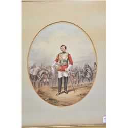 "Framed original watercolour/gouache painting as marked on verso ""Depicting Dudley Charles Fitzgerald"