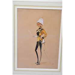 "Framed original watercolour/gouache portrait caricature as marked on verso ""Spy Officer of Skinner's"