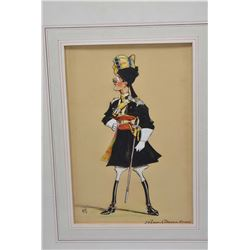 "Framed original watercolour/gouache portrait caricature titled ""29th Lancers (Deccan Horse) artist i"