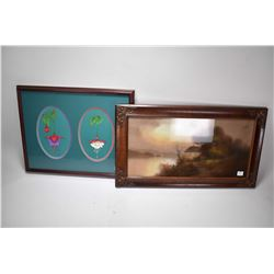 Two framed pieces of wall art original pastel on paper drawing of a lakeside cottage by artist Chand