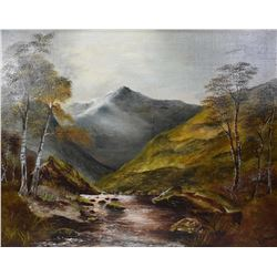 "Gilt framed oil on canvas of a dark mountainous landscape signed by artist H. Franks, 20"" x 24"""