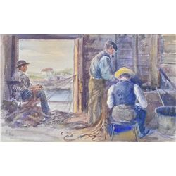 "Gilt framed antique original watercolour painting titled and named on verso ""Mending Nets-by artist"