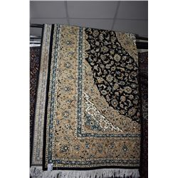 Brand new 100% hand made wool blend Kashan area carpet with center medallion, with black background